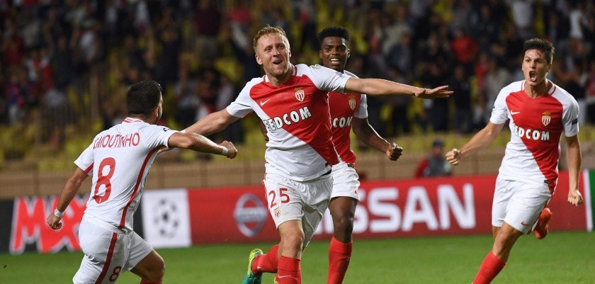 Monaco's Polish defender Kamil Glik (C) celebrates after scoring a goal during the UEFA Champions League football match AS Monaco vs Bayer Leverkusen, on September 27, 2016 in Monaco. / AFP / ANNE-CHRISTINE POUJOULAT        (Photo credit should read ANNE-CHRISTINE POUJOULAT/AFP/Getty Images)
