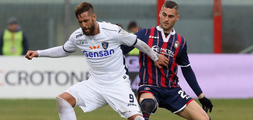 CROTONE, ITALY - JANUARY 29:  Aleandro Rosi (R) of Crotone competes for the ball with Levan Mchedlidze of Empoli during the Serie A match between FC Crotone and Empoli FC at Stadio Comunale Ezio Scida on January 29, 2017 in Crotone, Italy.  (Photo by Maurizio Lagana/Getty Images)