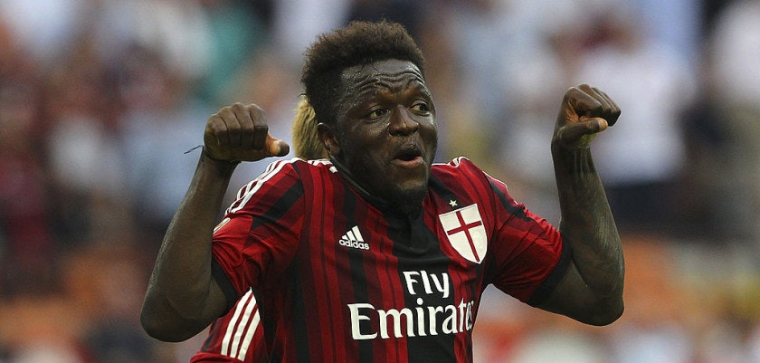 MILAN, ITALY - AUGUST 31:  Sulley Ali Muntari of AC Milan celebrates after scoring his goal during the Serie A match between AC Milan and SS Lazio at Stadio Giuseppe Meazza on August 31, 2014 in Milan, Italy.  (Photo by Marco Luzzani/Getty Images)