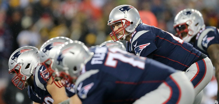 FOXBORO, MA - JANUARY 22: Tom Brady #12 of the New England Patriots prepares to snap the ball against the Pittsburgh Steelers during the second quarter in the AFC Championship Game at Gillette Stadium on January 22, 2017 in Foxboro, Massachusetts.  (Photo by Maddie Meyer/Getty Images)