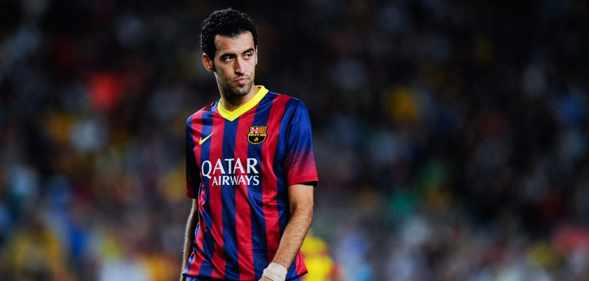 BARCELONA, SPAIN - SEPTEMBER 14:  Sergio Busquets of FC Barcelona looks on  during the La Liga match between FC Barcelona and Sevilla FC at Camp Nou on September 14, 2013 in Barcelona, Spain.  (Photo by David Ramos/Getty Images)