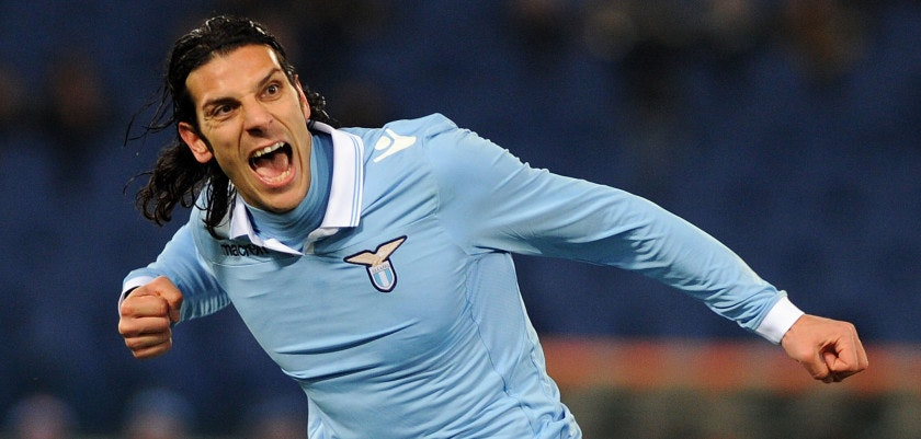 ROME, ITALY - FEBRUARY 09:  Sergio Floccari of Lazio celebrates after scoring the opening goal during the Serie A match between S.S. Lazio and SSC Napoli at Stadio Olimpico on February 9, 2013 in Rome, Italy.  (Photo by Giuseppe Bellini/Getty Images)