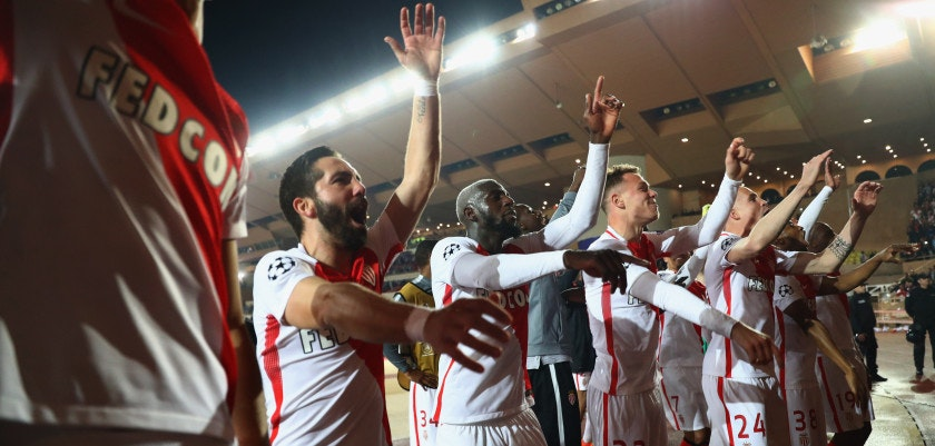 MONACO - MARCH 15:  Monaco players celebrate victory after the UEFA Champions League Round of 16 second leg match between AS Monaco and Manchester City FC at Stade Louis II on March 15, 2017 in Monaco, Monaco. Monaco won by 3 goals to 1 and progress to the quarter finals on the away goals rule.  (Photo by Michael Steele/Getty Images)