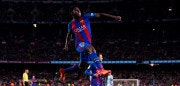 BARCELONA, SPAIN - MARCH 04:  Samuel Umtiti of FC Barcelona celebrates after scoring his team's fourth goal during the La Liga match between FC Barcelona and RC Celta de Vigo at Camp Nou stadium on March 4, 2017 in Barcelona, Spain.  (Photo by Alex Caparros/Getty Images)