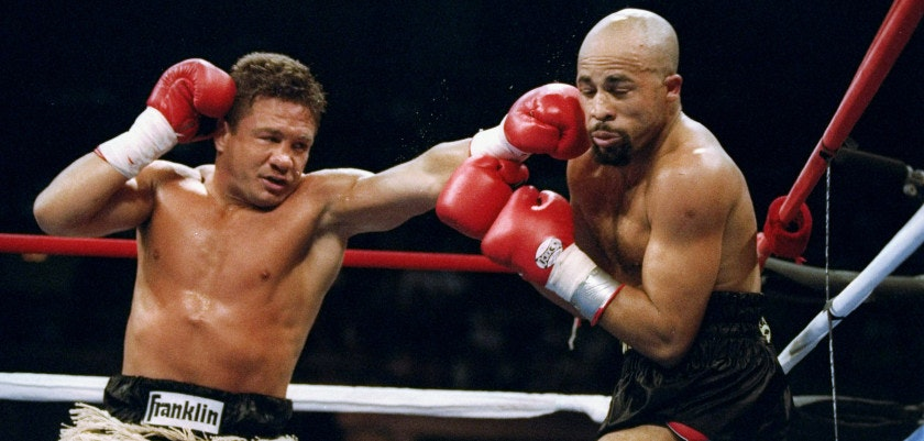 22 Jun 1993:  Vinny Pazienza (left) and Lloyd Honeyghan in action during a bout in Atlantic City, New Jersey. Mandatory Credit: Al Bello  /Allsport