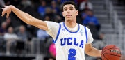 LAS VEGAS, NV - MARCH 09:  Lonzo Ball #2 of the UCLA Bruins sets up a play against the USC Trojans during a quarterfinal game of the Pac-12 Basketball Tournament at T-Mobile Arena on March 9, 2017 in Las Vegas, Nevada. UCLA won 76-74.  (Photo by Ethan Miller/Getty Images)