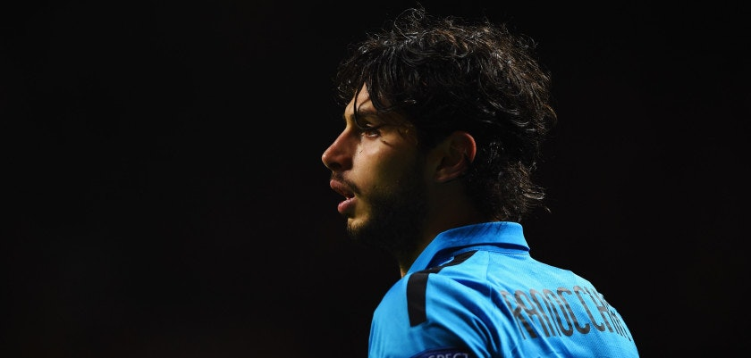 GLASGOW, SCOTLAND - FEBRUARY 19:  Andrea Ranocchia of Inter Milan looks on during the UEFA Europa League Round of 32 first leg match between Celtic FC and FC Internazionale Milano at Celtic Park Stadium on February 19, 2015 in Glasgow, United Kingdom.  (Photo by Laurence Griffiths/Getty Images)