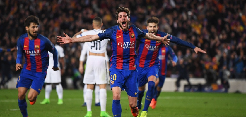 BARCELONA, SPAIN - MARCH 08:  Sergi Roberto of Barcelona as he scores their sixth goal during the UEFA Champions League Round of 16 second leg match between FC Barcelona and Paris Saint-Germain at Camp Nou on March 8, 2017 in Barcelona, Spain.  (Photo by Laurence Griffiths/Getty Images)