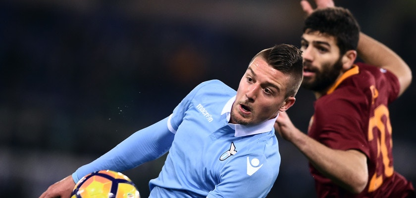 Roma's defender from Argentina Federico Fazio (R) vies with Lazio midfielder form Croatia Sergej Milinkovic-Savic during the Italian TIM Cup 1st leg semifinal football match on March 1, 2017 at the Olympic stadium in Rome.  / AFP PHOTO / FILIPPO MONTEFORTE        (Photo credit should read FILIPPO MONTEFORTE/AFP/Getty Images)