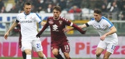 TURIN, ITALY - JANUARY 29:  Adem Ljajic (C) of Torino FC competes for the ball with Mattia Caldara (R) and Jasmin Kurtic (L) of Atalanta BC during the Serie A match between FC Torino and Atalanta BC at Stadio Olimpico di Torino on January 29, 2017 in Turin, Italy.  (Photo by Marco Luzzani/Getty Images)