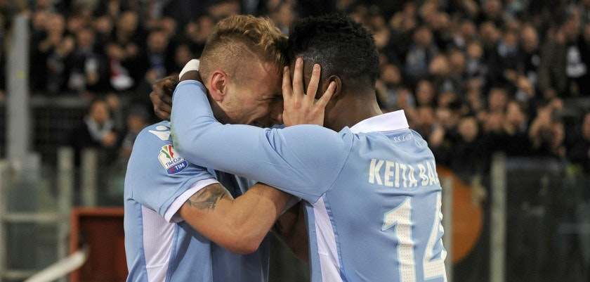 ROME, ROMA - MARCH 01:  Ciro Immobile of SS Lazio celebrates a second goal during the TIM Cup match between SS Lazio and AS Roma at Olimpico Stadium on March 1, 2017 in Rome, Italy.  (Photo by Marco Rosi/Getty Images)