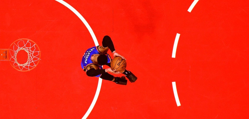 LOS ANGELES, CA - JANUARY 16:  Russell Westbrook #0 of the Oklahoma City Thunder dunks after a steal against the LA Clippers at Staples Center on January 16, 2017 in Los Angeles, California.  NOTE TO USER: User expressly acknowledges and agrees that, by downloading and or using this photograph, User is consenting to the terms and conditions of the Getty Images License Agreement.  (Photo by Harry How/Getty Images)