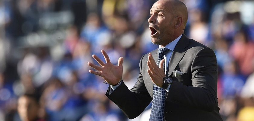 Cruz Azul´s coach Francisco Jemez gestures during their Mexican Clausura football tournament match against Tigres at the Azul Stadium in Mexico City on March 18, 2017. / AFP PHOTO / PEDRO PARDO        (Photo credit should read PEDRO PARDO/AFP/Getty Images)