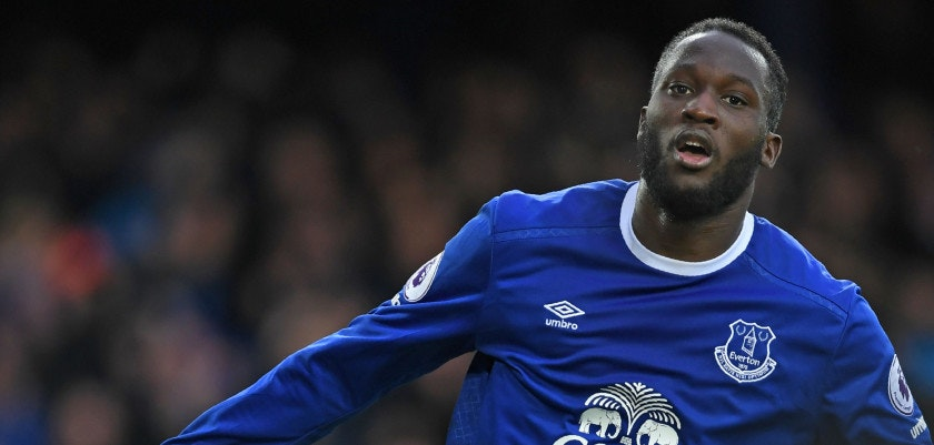 Everton's Belgian striker Romelu Lukaku celebrates after scoring their third goal during the English Premier League football match between Everton and Hull City at Goodison Park in Liverpool, north west England on March 18, 2017. / AFP PHOTO / Paul ELLIS / RESTRICTED TO EDITORIAL USE. No use with unauthorized audio, video, data, fixture lists, club/league logos or 'live' services. Online in-match use limited to 75 images, no video emulation. No use in betting, games or single club/league/player publications.  /         (Photo credit should read PAUL ELLIS/AFP/Getty Images)