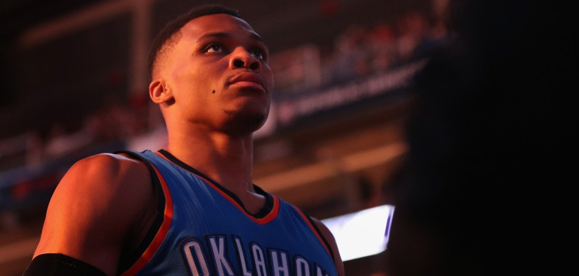 PHOENIX, AZ - MARCH 03:  Russell Westbrook #0 of the Oklahoma City Thunder stands on the court before the NBA game against the Phoenix Suns at Talking Stick Resort Arena on March 3, 2017 in Phoenix, Arizona. NOTE TO USER: User expressly acknowledges and agrees that, by downloading and or using this photograph, User is consenting to the terms and conditions of the Getty Images License Agreement.  (Photo by Christian Petersen/Getty Images)