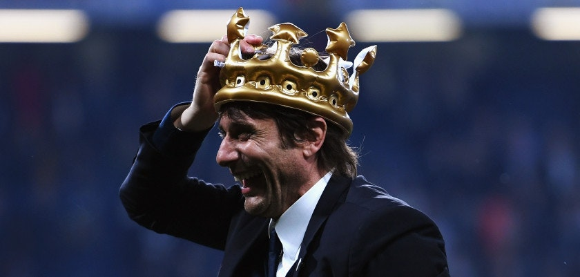 LONDON, ENGLAND - MAY 15:  Antonio Conte, Manager of Chelsea celebrates with a inflatable crown after the Premier League match between Chelsea and Watford at Stamford Bridge on May 15, 2017 in London, England.  (Photo by Shaun Botterill/Getty Images)