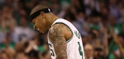 BOSTON, MA - MAY 15:  Isaiah Thomas #4 of the Boston Celtics reacts against the Washington Wizards during Game Seven of the NBA Eastern Conference Semi-Finals at TD Garden on May 15, 2017 in Boston, Massachusetts.  NOTE TO USER: User expressly acknowledges and agrees that, by downloading and or using this photograph, User is consenting to the terms and conditions of the Getty Images License Agreement.  (Photo by Elsa/Getty Images)