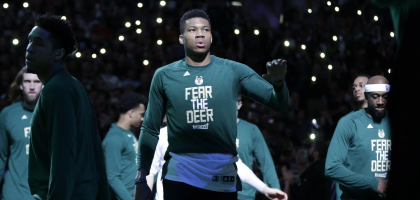 MILWAUKEE, WI - APRIL 22: Giannis Antetokounmpo #34 of the Milwaukee Bucks walks onto the court before the start of the game against the Toronto Raptors during the first half of Game Four of the Eastern Conference Quarterfinals during the 2017 NBA Playoffs at the BMO Harris Bradley Center on April 22, 2017 in Milwaukee, Wisconsin. NOTE TO USER: User expressly acknowledges and agrees that, by downloading and or using the photograph, User is consenting to the terms and conditions of the Getty Images License Agreement. (Photo by Mike McGinnis/Getty Images)