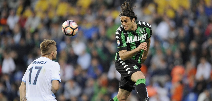 REGGIO NELL'EMILIA, REGGIO EMILIA - APRIL 01: Alessandro Matri of US Sassuolo during the Serie A match between US Sassuolo and SS Lazio at Mapei Stadium - Citta' del Tricolore on April 1, 2017 in Reggio nell'Emilia, Italy.  (Photo by Marco Rosi/Getty Images)