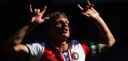 ROTTERDAM, NETHERLANDS - MAY 14:  Captain, Dirk Kuyt of Feyenoord Rotterdam celebrates in front of the home fans after winning the Dutch Eredivisie at De Kuip or Stadion Feijenoord on May 14, 2017 in Rotterdam, Netherlands.  (Photo by Dean Mouhtaropoulos/Getty Images)