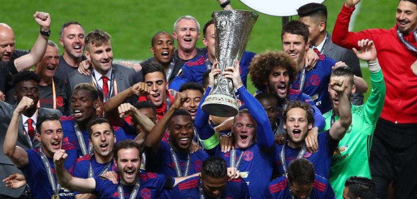 STOCKHOLM, SWEDEN - MAY 24: Wayne Rooney of Manchester United lifts The Europa League trophy after the UEFA Europa League Final between Ajax and Manchester United at Friends Arena on May 24, 2017 in Stockholm, Sweden.  (Photo by Alex Grimm/Getty Images)
