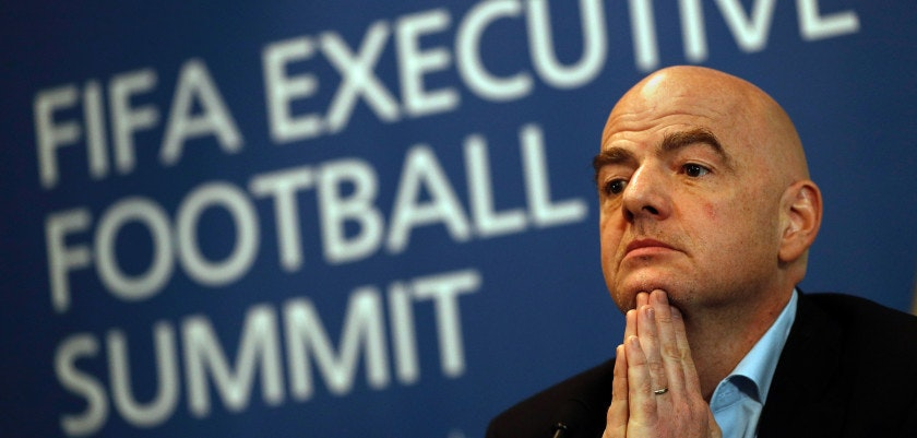 FIFA President Gianni Infantino is pictured during a press conference following the FIFA Executive Football Summit near Heathrow airport in London on March 9, 2017.  Barcelona's extraordinary fightback to beat Paris Saint-Germain in the Champions League demonstrated football's unique capacity for surprise, FIFA president Gianni Infantino said. / AFP PHOTO / ADRIAN DENNIS        (Photo credit should read ADRIAN DENNIS/AFP/Getty Images)