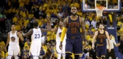 OAKLAND, CA - JUNE 01:  LeBron James #23 of the Cleveland Cavaliers reacts after a play in Game 1 of the 2017 NBA Finals against the Golden State Warriors at ORACLE Arena on June 1, 2017 in Oakland, California. NOTE TO USER: User expressly acknowledges and agrees that, by downloading and or using this photograph, User is consenting to the terms and conditions of the Getty Images License Agreement.  (Photo by Ezra Shaw/Getty Images)