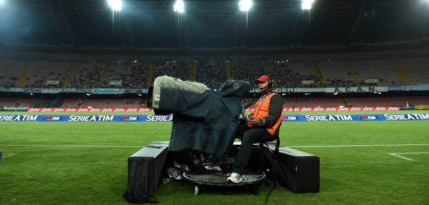 NAPLES, ITALY - SEPTEMBER 24:  A TV camera films during the Serie A match between SSC Napoli and US Citta di Palermo at Stadio San Paolo on September 24, 2014 in Naples, Italy.  (Photo by Tullio M. Puglia/Getty Images)