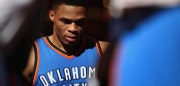 PHOENIX, AZ - APRIL 07:  Russell Westbrook #0 of the Oklahoma City Thunder stands near the bench during a time out from the NBA game against the Phoenix Suns at Talking Stick Resort Arena on April 7, 2017 in Phoenix, Arizona.  The Suns defeated the Thunder 120-99. NOTE TO USER: User expressly acknowledges and agrees that, by downloading and or using this photograph, User is consenting to the terms and conditions of the Getty Images License Agreement.  (Photo by Christian Petersen/Getty Images)
