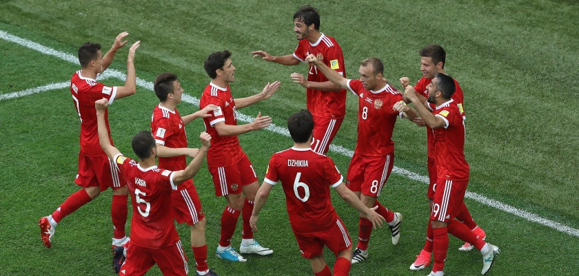 SAINT PETERSBURG, RUSSIA - JUNE 17: Dennis Glushakov of Russia celebrates scoring his sides first goal with his Russia team mates during the FIFA Confederations Cup Russia 2017 Group A match between Russia and New Zealand at Saint Petersburg Stadium on June 17, 2017 in Saint Petersburg, Russia.  (Photo by Francois Nel/Getty Images)