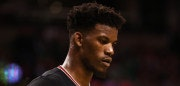 BOSTON, MA - APRIL 26: Jimmy Butler #21 of the Chicago Bulls looks on during the third quarter of Game Five of the Eastern Conference Quarterfinals against the Boston Celtics at TD Garden on April 26, 2017 in Boston, Massachusetts. NOTE TO USER: User expressly acknowledges and agrees that, by downloading and or using this Photograph, user is consenting to the terms and conditions of the Getty Images License Agreement. (Photo by Maddie Meyer/Getty Images)