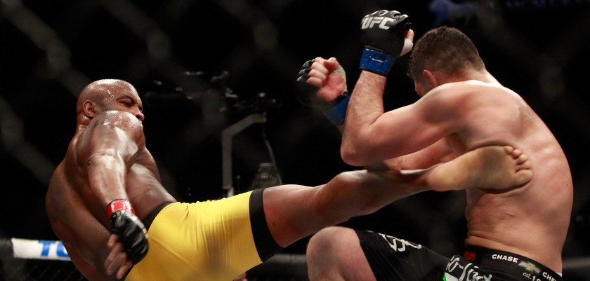 LAS VEGAS, NV - JANUARY 31:  Anderson Silva (L) kicks Nick Diaz in their middleweight bout during UFC 183 at the MGM Grand Garden Arena on January 31, 2015 in Las Vegas, Nevada. Silva won by unanimous decision.  (Photo by Steve Marcus/Getty Images)