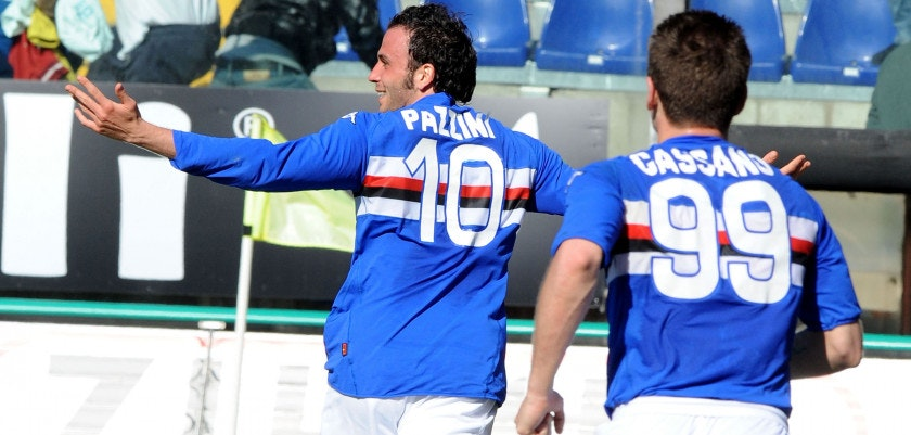 during the Serie A match between UC Sampdoria and AC Milan at Stadio Luigi Ferraris on April 18, 2010 in Genoa, Italy.
