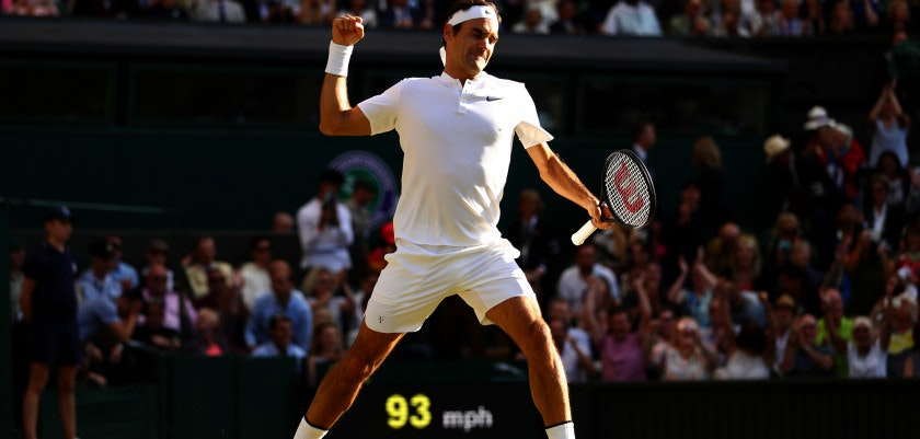 LONDON, ENGLAND - JULY 12:  Roger Federer of Switzerland celebrates match point and victory after the Gentlemen's Singles quarter final match against Milos Raonic of Canada on day nine of the Wimbledon Lawn Tennis Championships at the All England Lawn Tennis and Croquet Club on July 12, 2017 in London, England.  (Photo by Michael Steele/Getty Images)
