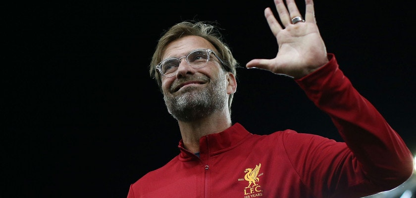 SYDNEY, AUSTRALIA - MAY 24:  Liverpool manager Jurgen Klopp waves to fans before the International Friendly match between Sydney FC and Liverpool FC at ANZ Stadium on May 24, 2017 in Sydney, Australia.  (Photo by Mark Metcalfe/Getty Images)