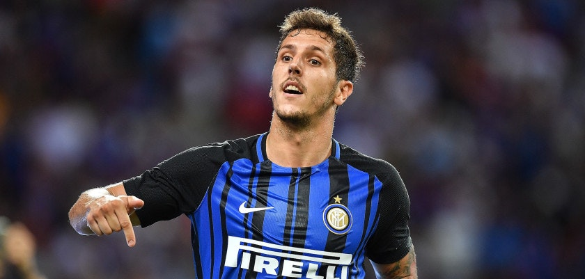 SINGAPORE - JULY 29: Stevan Jovetic #8 of FC Interernazionale celebrates his goal during the International Champions Cup match between FC Internazionale and Chelsea FC at National Stadium on July 29, 2017 in Singapore.  (Photo by Thananuwat Srirasant/Getty Images  for ICC)