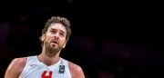 Spain's centre Pau Gasol reacts during the 2015 EuroBasket semi-final basketball match between Spain and France in Lille, northern France, on September 17, 2015. AFP PHOTO / PHILIPPE HUGUEN        (Photo credit should read PHILIPPE HUGUEN/AFP/Getty Images)