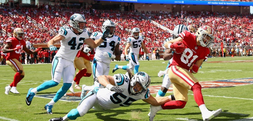 SANTA CLARA, CA - SEPTEMBER 10:  Trent Taylor #81 of the San Francisco 49ers is forced out of bounds on a punt return against the Carolina Panthers at Levi's Stadium on September 10, 2017 in Santa Clara, California.  (Photo by Ezra Shaw/Getty Images)