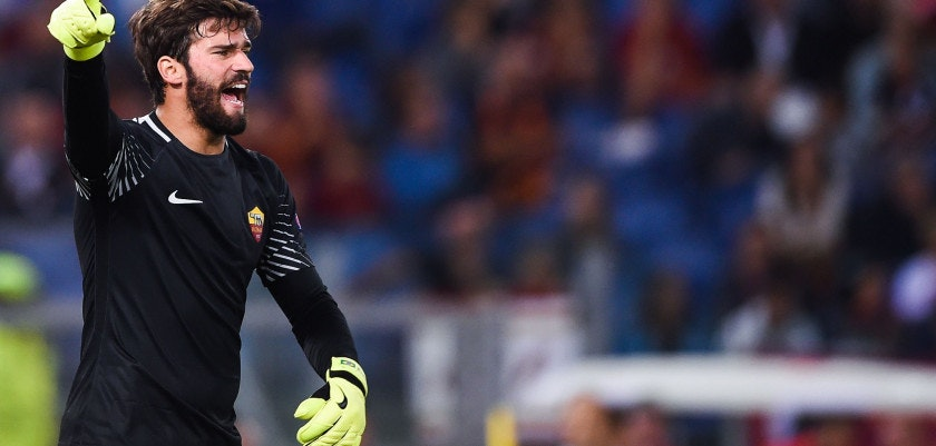 Roma's Brazilian goalkeeper Alisson Ramses Becker shouts instructions during the UEFA Champions League Group C football match between AS Roma and Atletico Madrid on September 12, 2017 at the Olympic stadium in Rome. / AFP PHOTO / Filippo MONTEFORTE        (Photo credit should read FILIPPO MONTEFORTE/AFP/Getty Images)