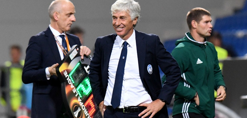 REGGIO NELL'EMILIA, ITALY - SEPTEMBER 14:  Head coach Gian Piero Gasperini of Atalanta reacts during the UEFA Europa League group E match between Atalanta and Everton FC at Stadio Citta del Tricolore on September 14, 2017 in Reggio nell'Emilia, Italy.  (Photo by Getty Images/Getty Images)