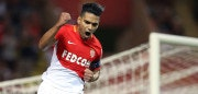 Monaco's Colombian forward Radamel Falcao  celebrates after scoring a penalty kick during the French L1 football match between Monaco (ASM) and Marseille (OM) on August 27, 2017, at the Louis II Stadium in Monaco. / AFP PHOTO / Valery HACHE        (Photo credit should read VALERY HACHE/AFP/Getty Images)