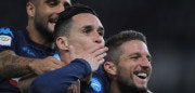 ROME, ITALY - SEPTEMBER 20:  Jose' Maria Callejon with Dries Mertens of SSC Napoli celebrates after scoring the team's second goal during the Serie A match between SS Lazio and SSC Napoli at Stadio Olimpico on September 20, 2017 in Rome, Italy.  (Photo by Paolo Bruno/Getty Images)
