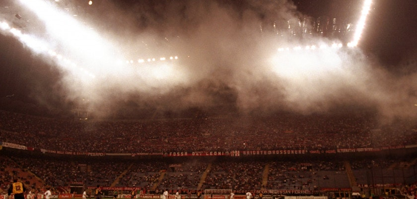 21 Sep 1999:  The smoke filled San Siro during the Champions League match between AC Milan and Galatasaray in Milan, Italy.   Mandatory Credit: Mike Hewitt /Allsport