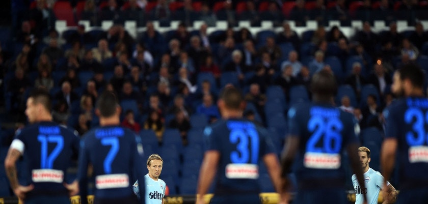 Lazio's Serbian defender Dusan Basta (L) and Lazio's Spanish midfielder Luis Alberto look on during the Italian Serie A football match between Lazio and Napoli at Olympic Stadium in Rome on September 20, 2017.   / AFP PHOTO / FILIPPO MONTEFORTE        (Photo credit should read FILIPPO MONTEFORTE/AFP/Getty Images)