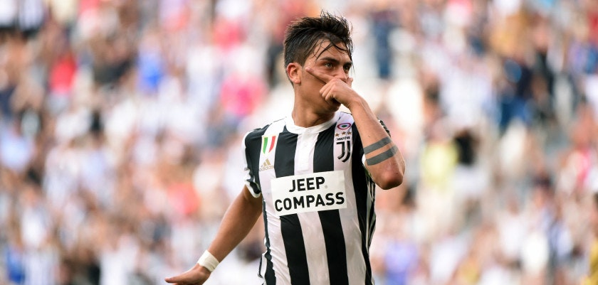 TURIN, ITALY - AUGUST 19:  Paulo Dybala of Juventus celebrates his first goal during the Serie A match between Juventus and Cagliari Calcio at Allianz Stadium on August 19, 2017 in Turin, Italy.  (Photo by Pier Marco Tacca/Getty Images)
