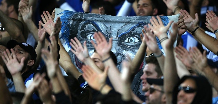 LIVERPOOL, ENGLAND - SEPTEMBER 28:  Apollon Limassol fans hold up a banner during the UEFA Europa League group E match between Everton FC and Apollon Limassol at Goodison Park on September 28, 2017 in Liverpool, United Kingdom.  (Photo by Jan Kruger/Getty Images)