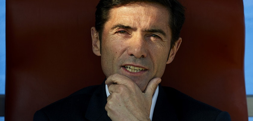 VALENCIA, SPAIN - NOVEMBER 24:  Head coach Marcelino Garcia of Villarreal looks  on prior to start the La Liga match between Levante UD and Villarreal CF at Ciutat de Valencia on November 24, 2013 in Valencia, Spain.  (Photo by Manuel Queimadelos Alonso/Getty Images)