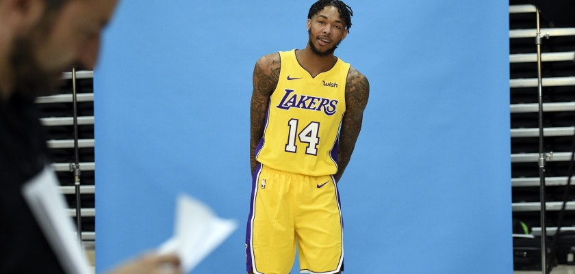 EL SEGUNDO, CA - SEPTEMBER 25: Brandon Ingram #14 of the Los Angeles Lakers poses during media day September 25, 2017, in El Segundo, California. NOTE TO USER: User expressly acknowledges and agrees that, by downloading and/or using this photograph, user is consenting to the terms and conditions of the Getty Images License Agreement. (Photo by Kevork Djansezian/Getty Images)