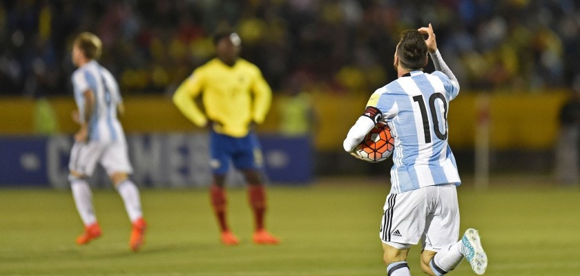Argentina's Lionel Messi celebrates after scoring against Ecuador during their 2018 World Cup qualifier football match in Quito, on October 10, 2017. / AFP PHOTO / Pablo COZZAGLIO        (Photo credit should read PABLO COZZAGLIO/AFP/Getty Images)