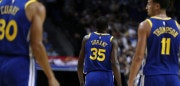 SHANGHAI, CHINA - OCTOBER 08: Kevin Durant #35, Stephen Curry #30, Klay Thompson #11 of the Golden State Warriors during the game between the Minnesota Timberwolves and the Golden State Warriors as part of 2017 NBA Global Games China at Mercedes-Benz Arena on October 8, 2017 in Shanghai, China. (Photo by Zhong Zhi/Getty Images)